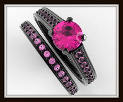 black and pink wedding rings black gold bridal ring set vidar jewelry unique custom