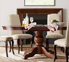 pedestal dining room table sumner extending pedestal dining table rustic mahogany pottery barn