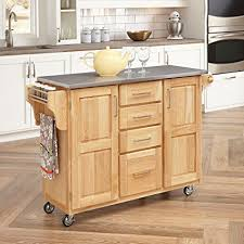 discount kitchen islands with breakfast bar amazon com home styles 5086 95 stainless steel top kitchen cart