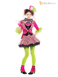 girls teens mad hatter alice in wonderland fancy dress costume