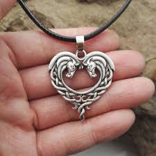 metal heart necklace images Celtic horse heart necklace my heart store jpg