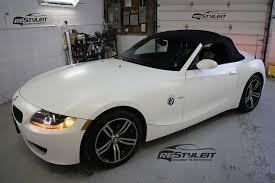 bmw z4 toronto bmw z4 satin white vehicle customization shop vinyl car wrap