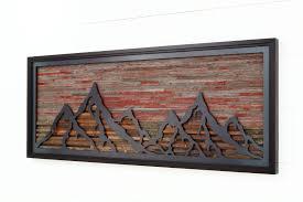 mountain wall wood custom wood wall of a fiery sunset mountain landscape