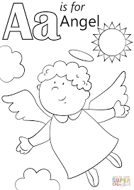 letter a is for angel coloring page free printable coloring pages