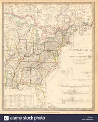 East America Map by North America East Canada U0026 Usa Canal Profiles 1830 Census Stock