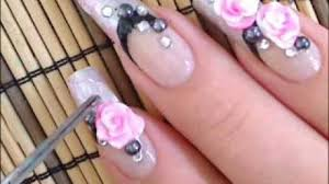 valentine date romantic roses 3d acrylic nail art design