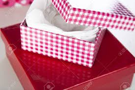 gift box tissue paper and white checked gift box with white tissue paper stock photo