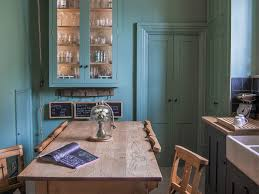 colorful accents cerulean white cabinet bright beach house