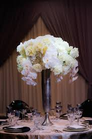 Silver Vases Wedding Centerpieces Reception Décor Photos Tall Ivory Centerpiece At Styled Shoot