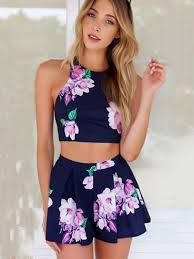 jumpsuit shorts blue flower printed jumpsuit apron style two