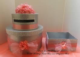 bling wedding programs wedding cake card box program box coral bling ribbon