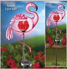 pink flamingo patio lights yard metal lighted stake solar flamingo decoration garden statue