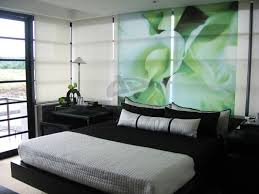 black and white and green bedroom home design ideas