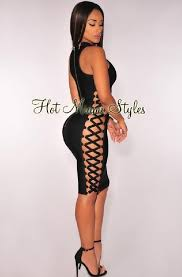 hot miami styles black lace up contour bandage mid length