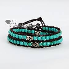 bracelet skull beads images Turquoise silver skull bead beaded leather wrap bracelets wholesale jpg