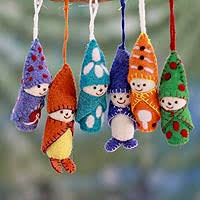 set of 6 handmade ornaments from india in snowsuits novica