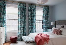 turquoise and teal curtains contemporary bedroom cwb architects