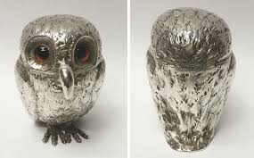 antique silver owl mustard pot by charles u0026 george fox by george