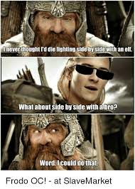 Side By Side Meme - i never thought i d die fighting side by side with an elf what about