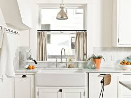 Backsplash In White Kitchen Shaker Cabinets White Kitchen Farmhouse Sink Trim Light Filled