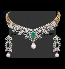 simple diamond sets diamond necklace indian diamond neckset pearl diamond 2 layer
