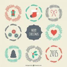 vintage christmas badges vector free download