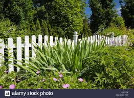 white wooden picket fence in front of a flower bed in a landscaped