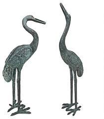 bronze crane sculptures set of 2 medium contemporary garden