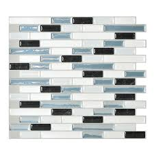 shop smart tiles 6 pack white linear mosaic composite vinyl wall