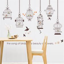 removable vinyl birds cage cartoon kids wall stickers for kids