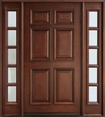 Frame Exterior Door Brown Stained Teak Wood Entry Door Panel With 6 Panel Combined