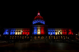 sf city hall lights paris attacks famous landmarks worldwide light up in solidarity