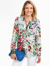 sale on 4 star talbots floral band collar shirt blouses and