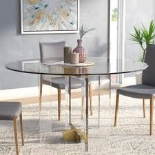 dining room glass table glass round kitchen dining tables you ll love wayfair
