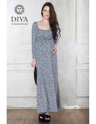 dress diva nursingwear stella maxi long sleeved domino