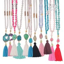 tassel necklace bead images Fashion jewelry beads tassel necklace with druzy stone buy jpg