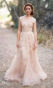 cheap vintage wedding dresses discount cheap vintage v cap sleeves pink lace applique tulle