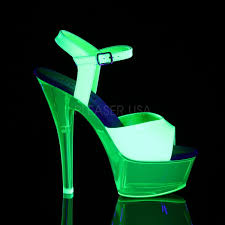 pleaser kiss 209uvt neon green patent with neon transparent green plat