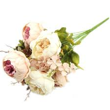 silk flowers for wedding kangnice vintage artificial peony silk flowers bouquet