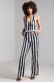 halter neck jumpsuit tie up halter neck wide leg striped jumpsuit in black white