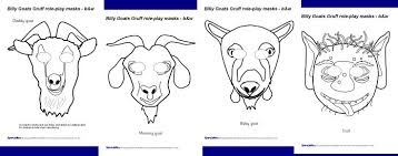 billy goats gruff role play masks black and white sb2277 clip