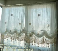 White Balloon Curtains French Country White Lace Crochet Balloon Shade By Craftfabric030