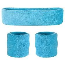 sweat band suddora neon blue sweatband set cotton wristbands sport