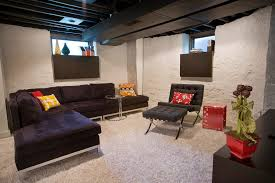 industrial basement ceiling basement modern with media room