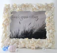 Nautical Decor Beach Wedding Frame White Seashell Frame White Shell Frame