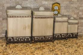 brown kitchen canisters how to distress painted ceramic kitchen canisters home guides