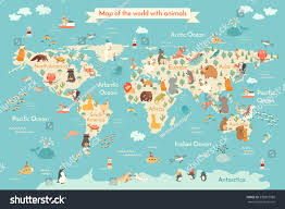Antarctica World Map by Animals World Map Kid World Vector Stock Vector 599815088
