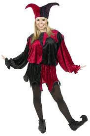 Halloween Costumes Jester Size Red Black Velvet Jester Costume Candy Apple