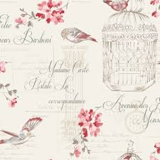 holden decor floral bird cage aviary french typography wallpaper
