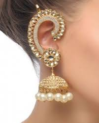 kaan earrings gold ruby pearl polki meenakari kaan pool jhumka womenitems